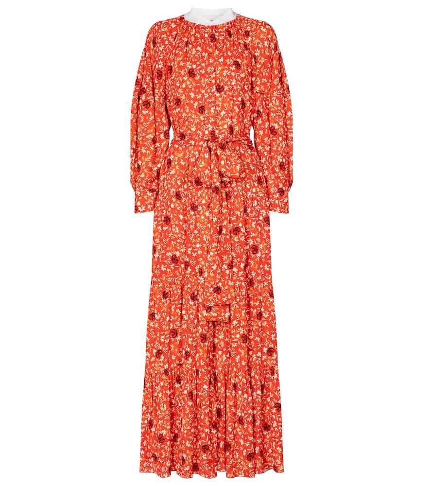 Floral crêpe midi dress