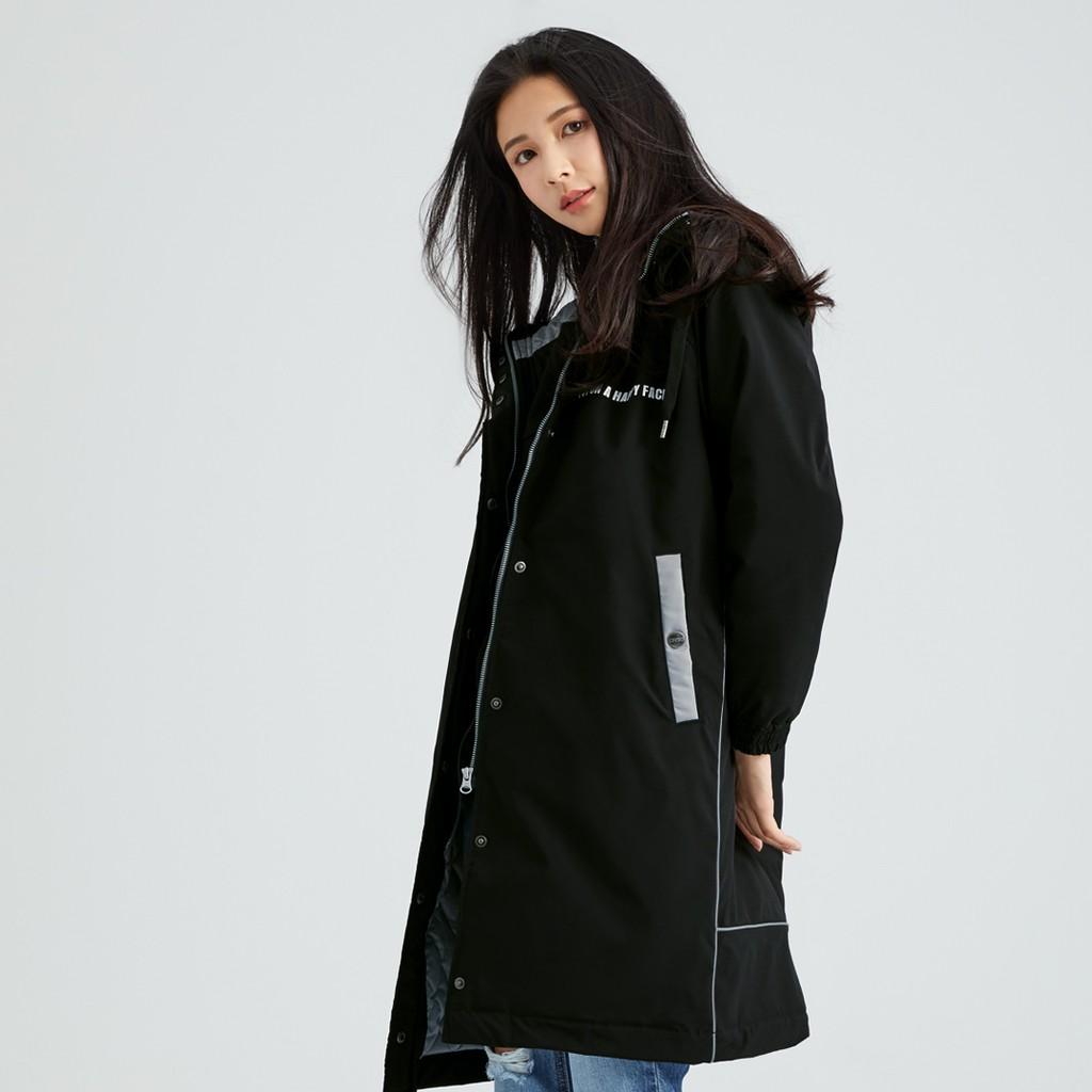 【ERSS】撞色拼接長版中性鋪棉外套 - 男女 黑色 K10089