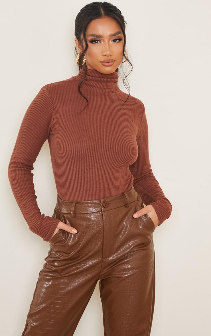 Petite Chocolate Brushed Rib Roll Neck Long Sleeve Bodysuit