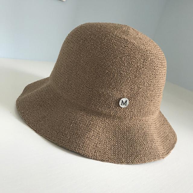 優雅M字母棉麻透氣女士盆帽夏海邊沙灘防曬遮陽休閑漁夫帽可折疊1入