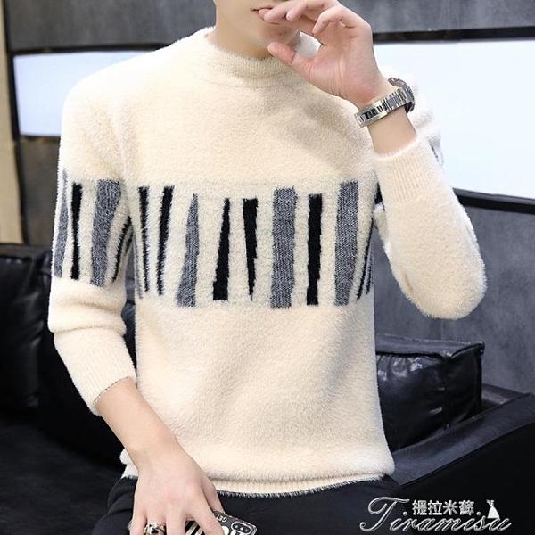 男士毛衣 男士圓領毛衣韓版潮流新款秋冬季加厚水貂絨針織衫個性毛線衣 快速出貨