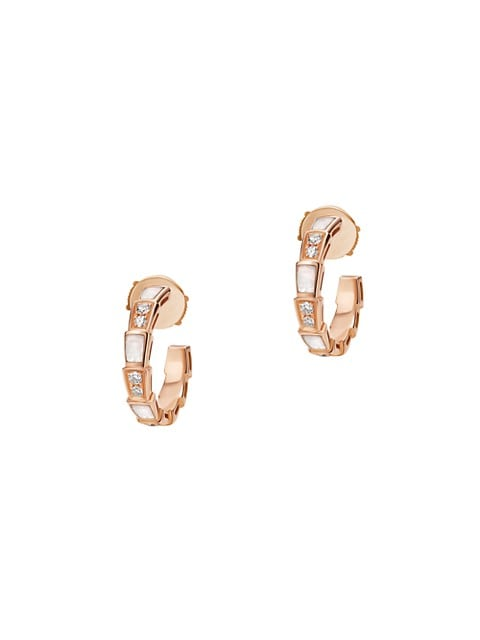 Serpenti Viper 18K Rose Gold, Diamond & Mother-Of-Pearl Hoop Earrings