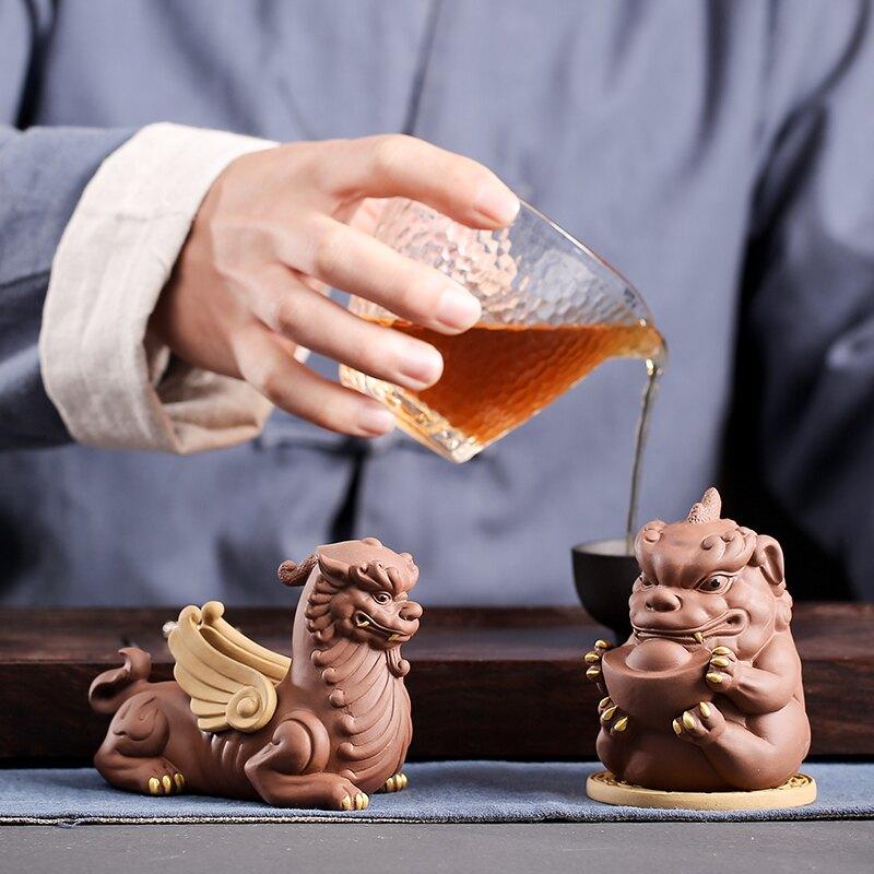 創意招財紫砂三足金蟾可養茶寵擺件功夫茶具茶道茶藝貔貅蟾蜍茶玩1入