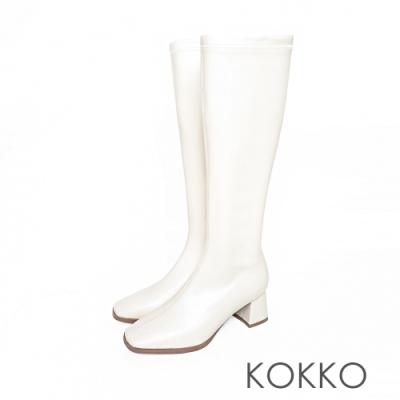 KOKKO簡約風方頭顯瘦粗跟長靴霧白色