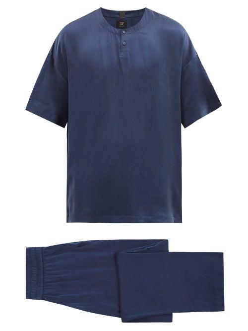 Lahgo - Silk Short-sleeved Pyjamas - Mens - Navy