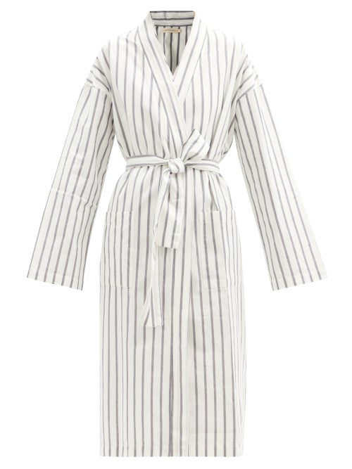 General Sleep - Everyone Striped Organic-cotton Robe - Womens - Blue Stripe