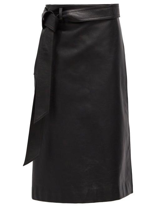 Balenciaga - Wrap Leather Skirt - Womens - Black
