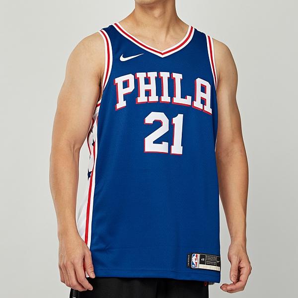 Nike 男 NBA 費城隊 76人 灰藍 籃球 運動 無袖 球衣 CW3678-495