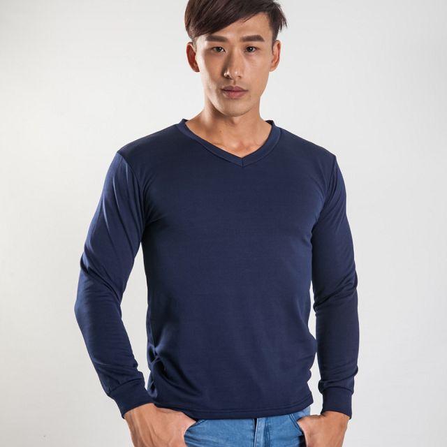V領刷毛暖暖衣-深藍色
