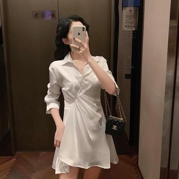 襯裙 秋款超仙女的復古法式連衣裙高冷暗黑喪系氣質顯瘦蹦迪襯衫裙 莎瓦迪卡