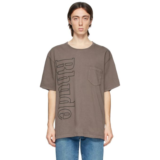 Rhude 灰色徽标口袋 T 恤