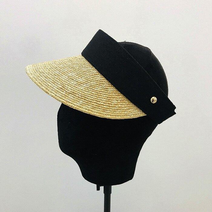 韓國麥草拼接空頂帽遮陽帽子女夏天戶外防紫外線防曬可折疊太陽帽1入