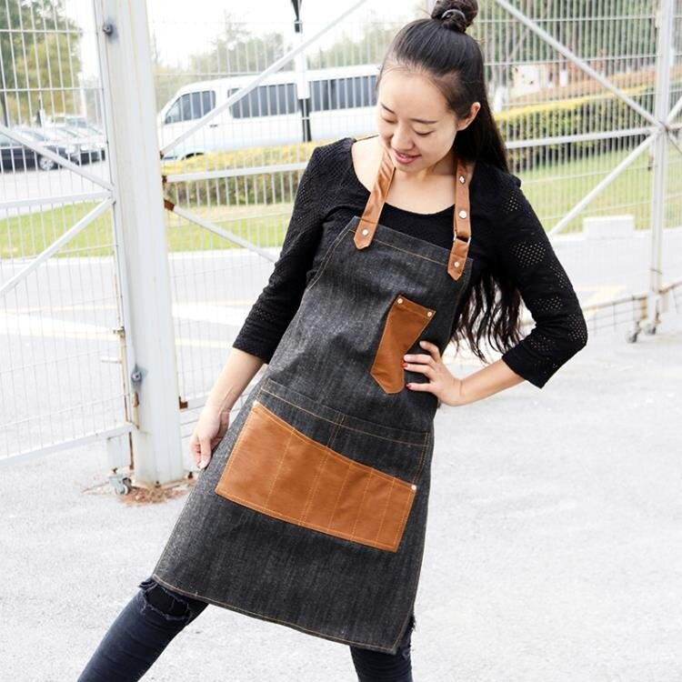 韓版牛仔圍裙 男女高端美術美容繪畫咖啡店皮布拼接圍裙訂製LOGO店名yh