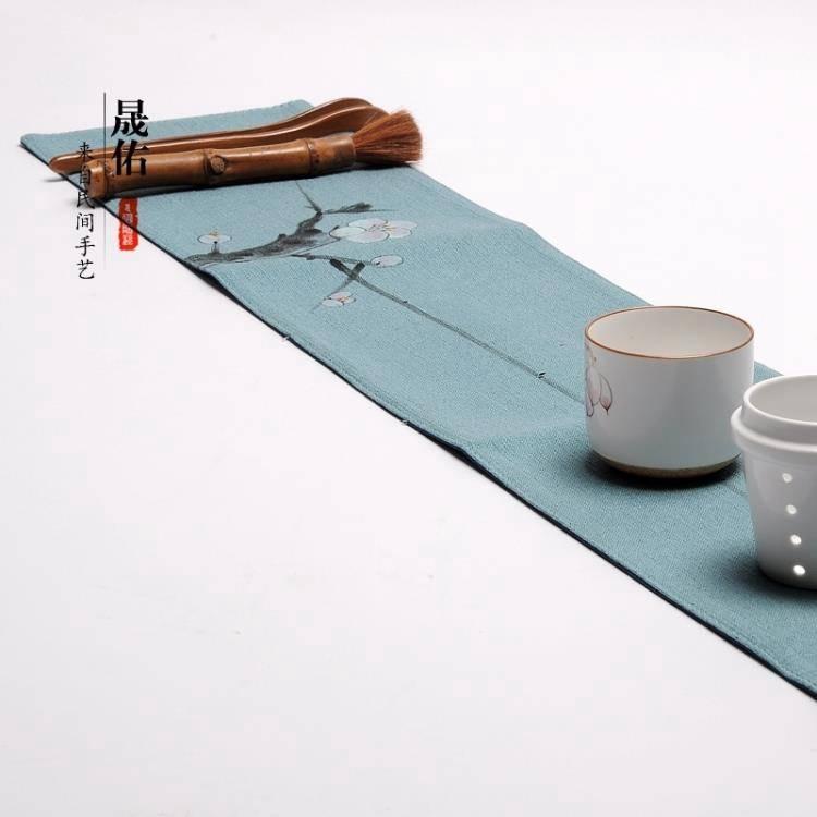 茶幾桌布 晟佑功夫茶具手繪禪意布藝桌旗棉麻乾泡茶席現代簡約茶幾桌布配件