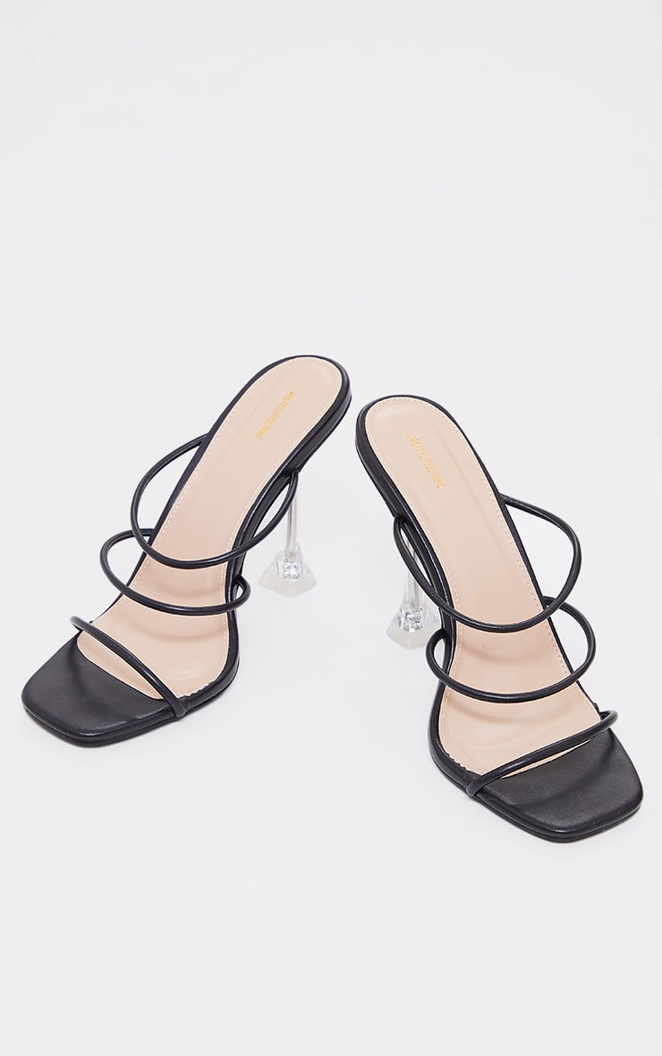 Black PU Triple Strap Clear Cake Stand Heeled Mules