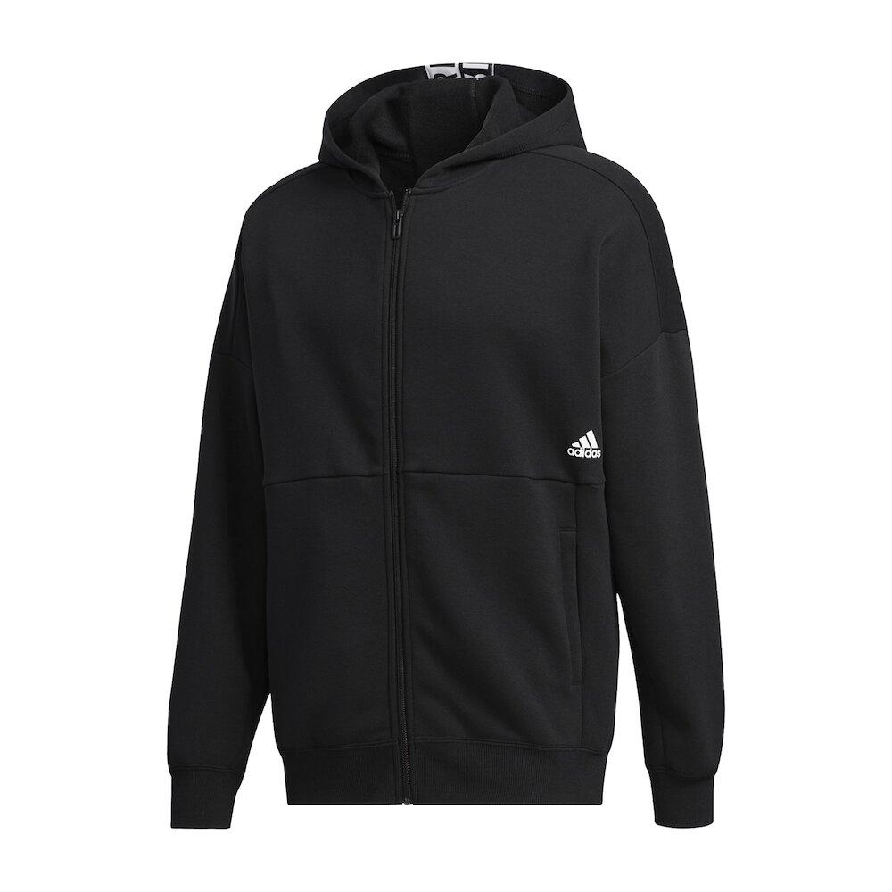 ADIDAS 外套 MH Sweatshirt 運動休閒 男款 愛迪達 連帽外套 穿搭 口袋 基本款 黑 白 [GE0384]