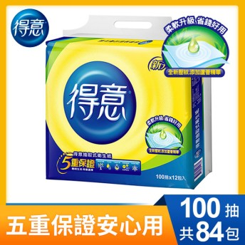 【得意】連續抽取式花紋衛生紙100抽x12包x7袋/箱