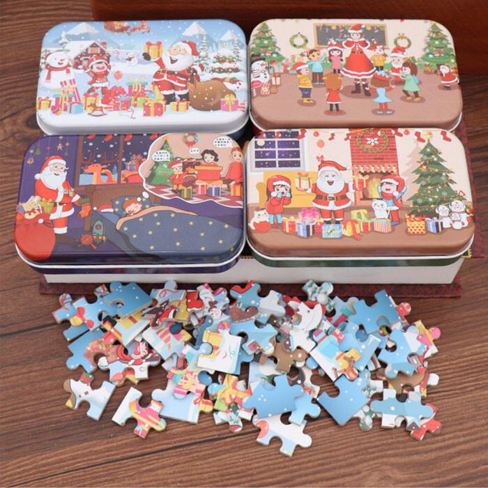 兒童益智拼圖聖誕老公公木質鐵盒拼圖兒童幼兒園聖誕禮物60塊