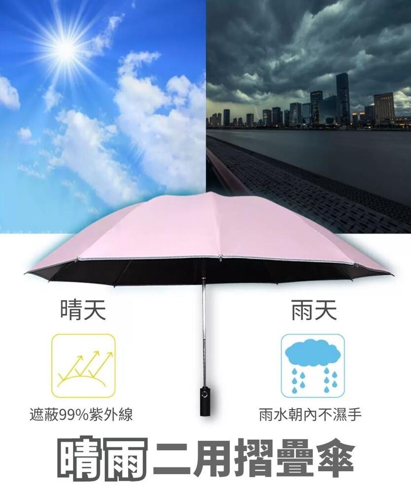 全自動防曬黑膠晴雨兩用反向傘 反摺傘