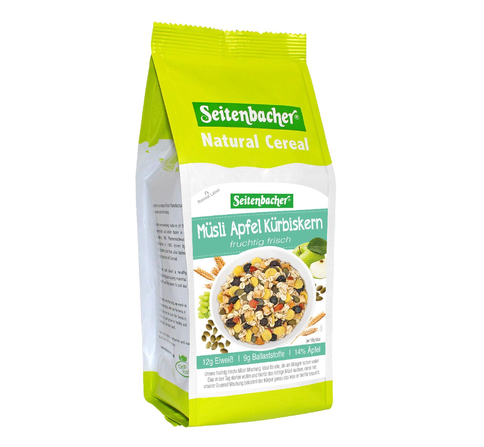 [德國 Seitenbacher] 蘋果南瓜籽綜合穀物 (500g/包) (贈品)