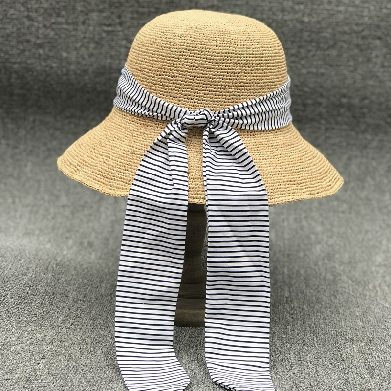 日本條紋棉布飄帶手工細拉菲草盆帽可折疊防曬海邊沙灘草帽子涼帽1入