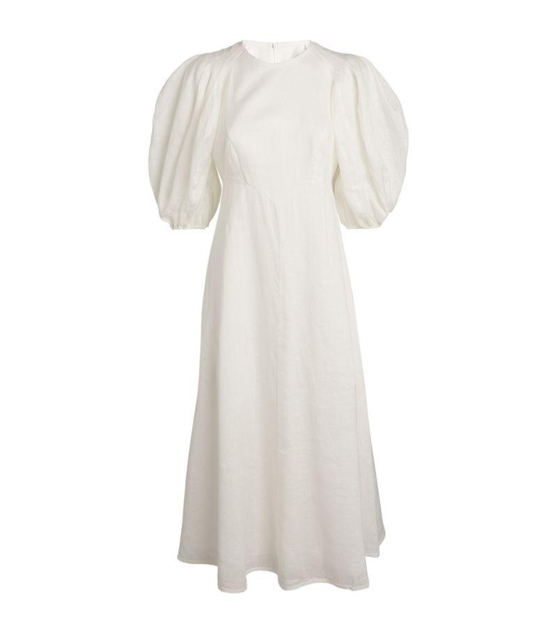 Zimmermann Linen Puff-Sleeved Midi Dress