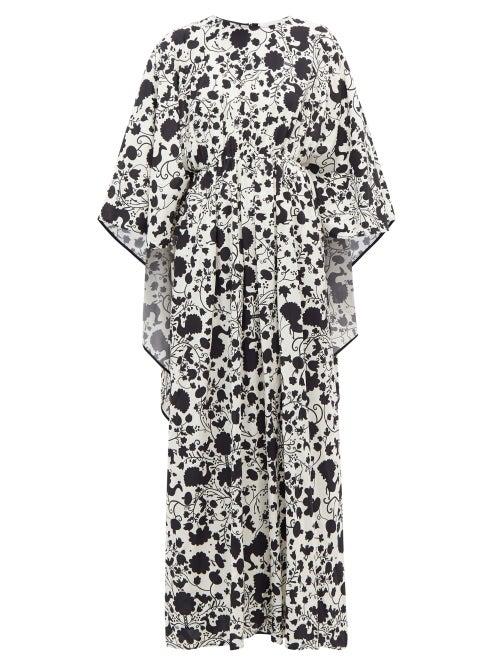 La DoubleJ - Circe Himsez-print Maxi Kaftan Dress - Womens - Black White