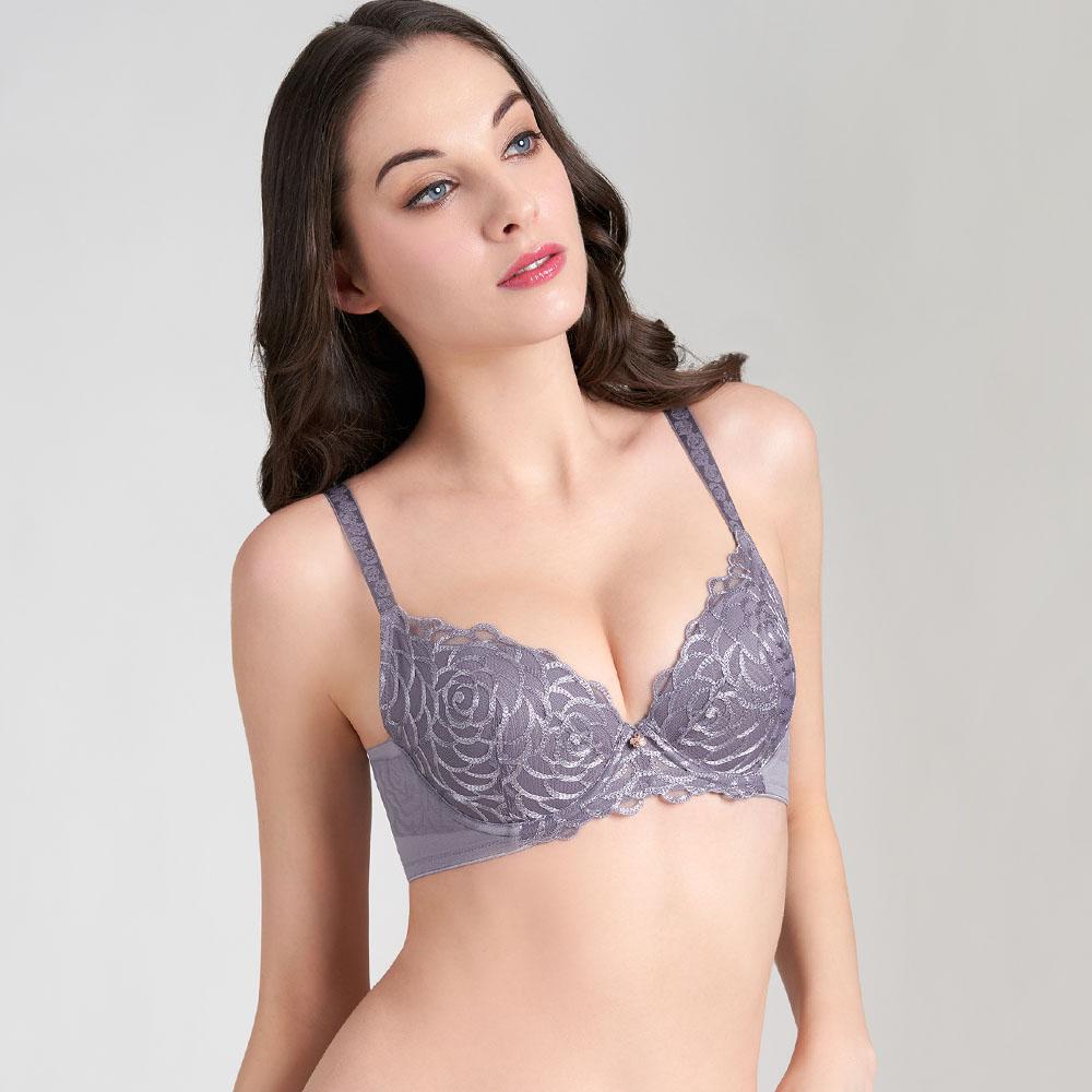【新品優惠中】黛安芬-FLORALE甜蜜薔薇系列 包覆無痕背片 B-E罩杯內衣 紫藕色|16-8622 7S
