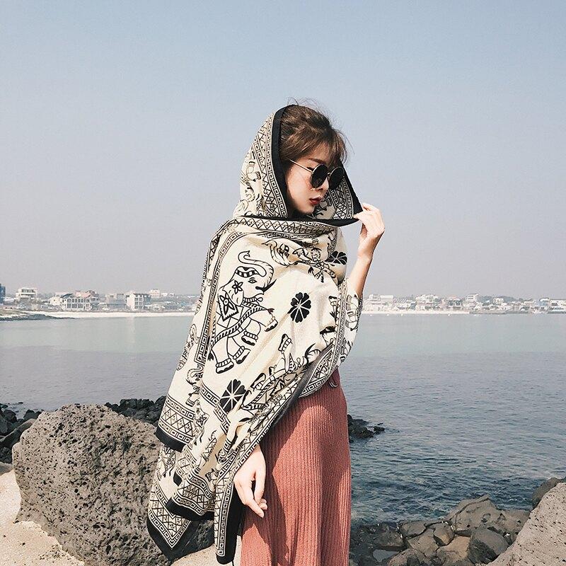 波西米亞風秋冬棉麻圍巾女斜紋棉披肩絲巾海邊旅游度假沙灘巾優質1入
