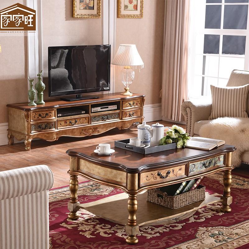 【可到付】廠家美式鄉村實木電視柜茶幾組合柜歐式彩繪客廳小戶型電視柜茶幾套裝爆款
