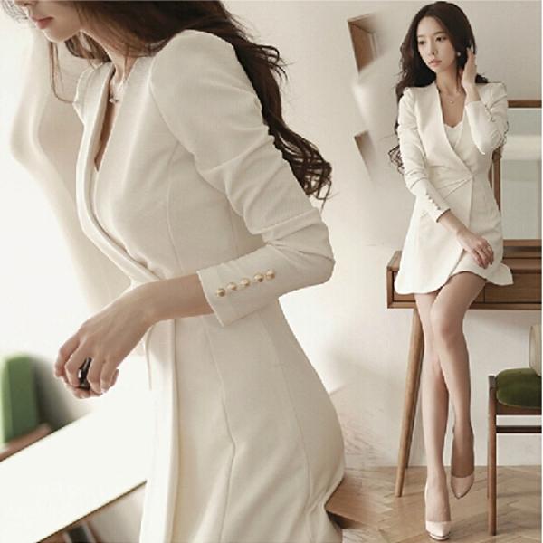 職業洋裝 春秋新款氣質女裝性感名媛氣質修身時尚西裝連衣裙套裝裙 莎瓦迪卡