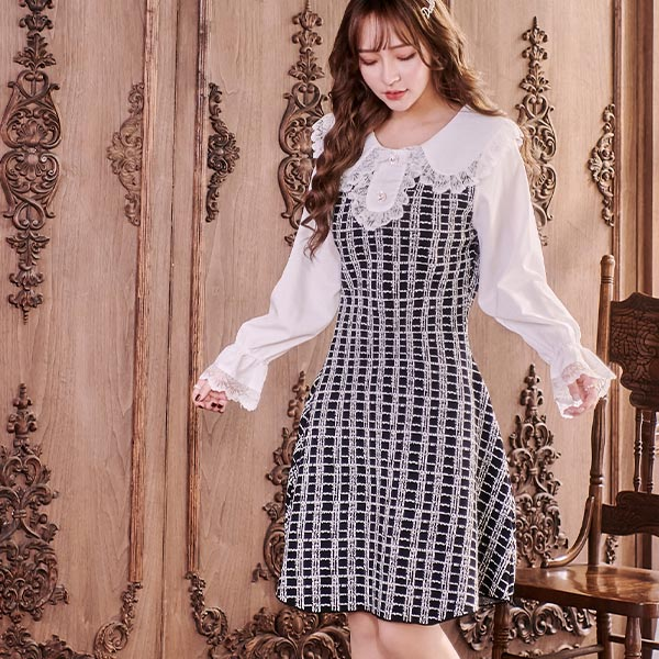 露比午茶-小香風娃娃領蕾絲長袖洋裝