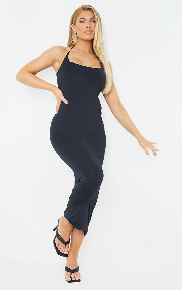 Black Slinky Halterneck Strap Midaxi Dress