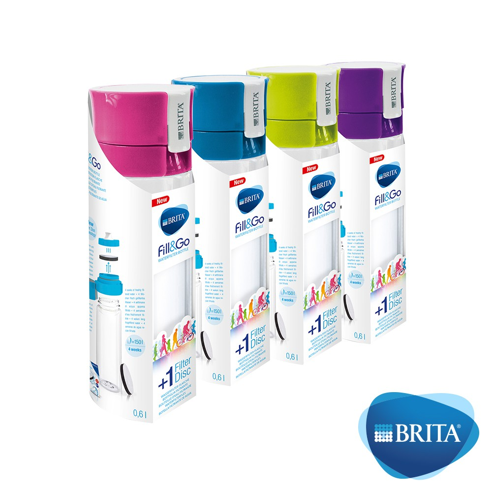 【德國 BRITA 】Fill&Go 隨身濾水瓶 600ml (綠色/ 桃紅/ 藍色)