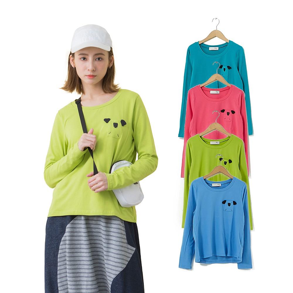 【Dailo】無尾熊造型口袋長袖-上衣(四色/版型適中)
