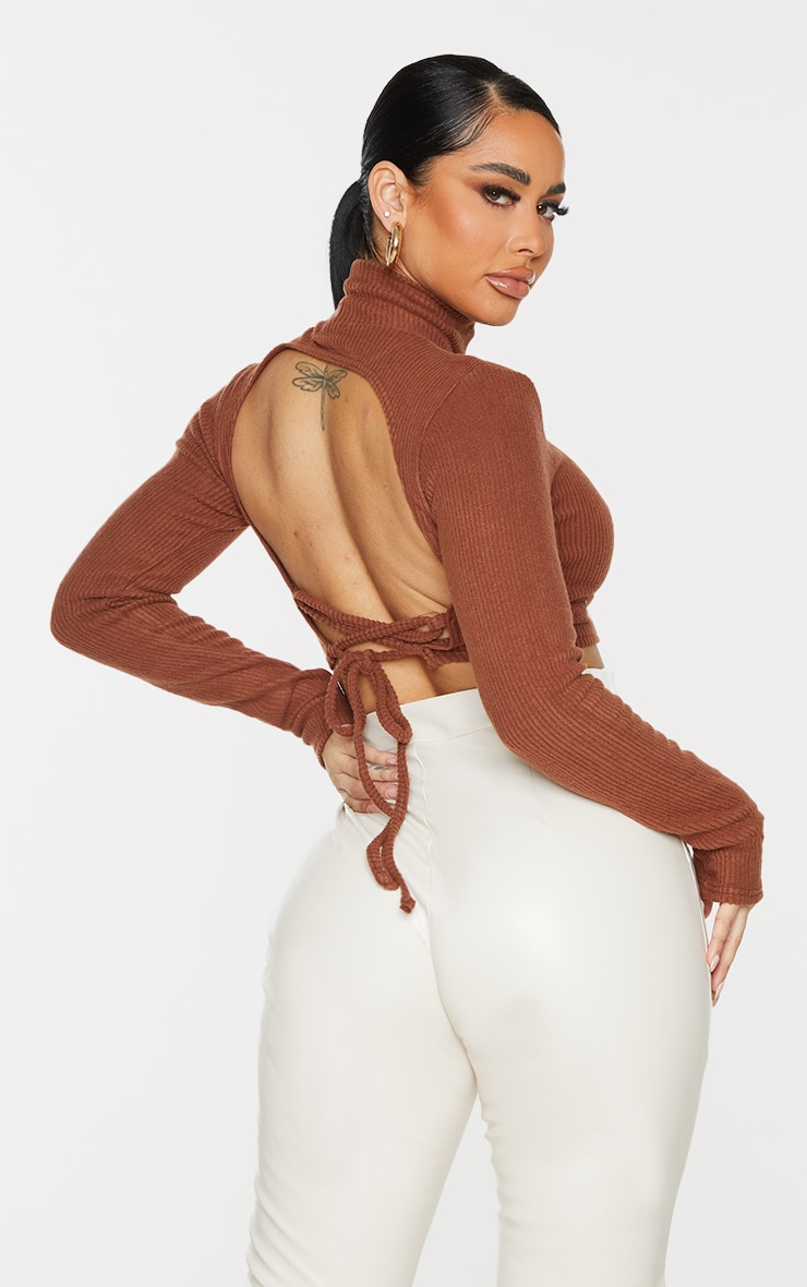 Shape Chocolate Brown Brushed Rib High Neck Lace Up Crop Top