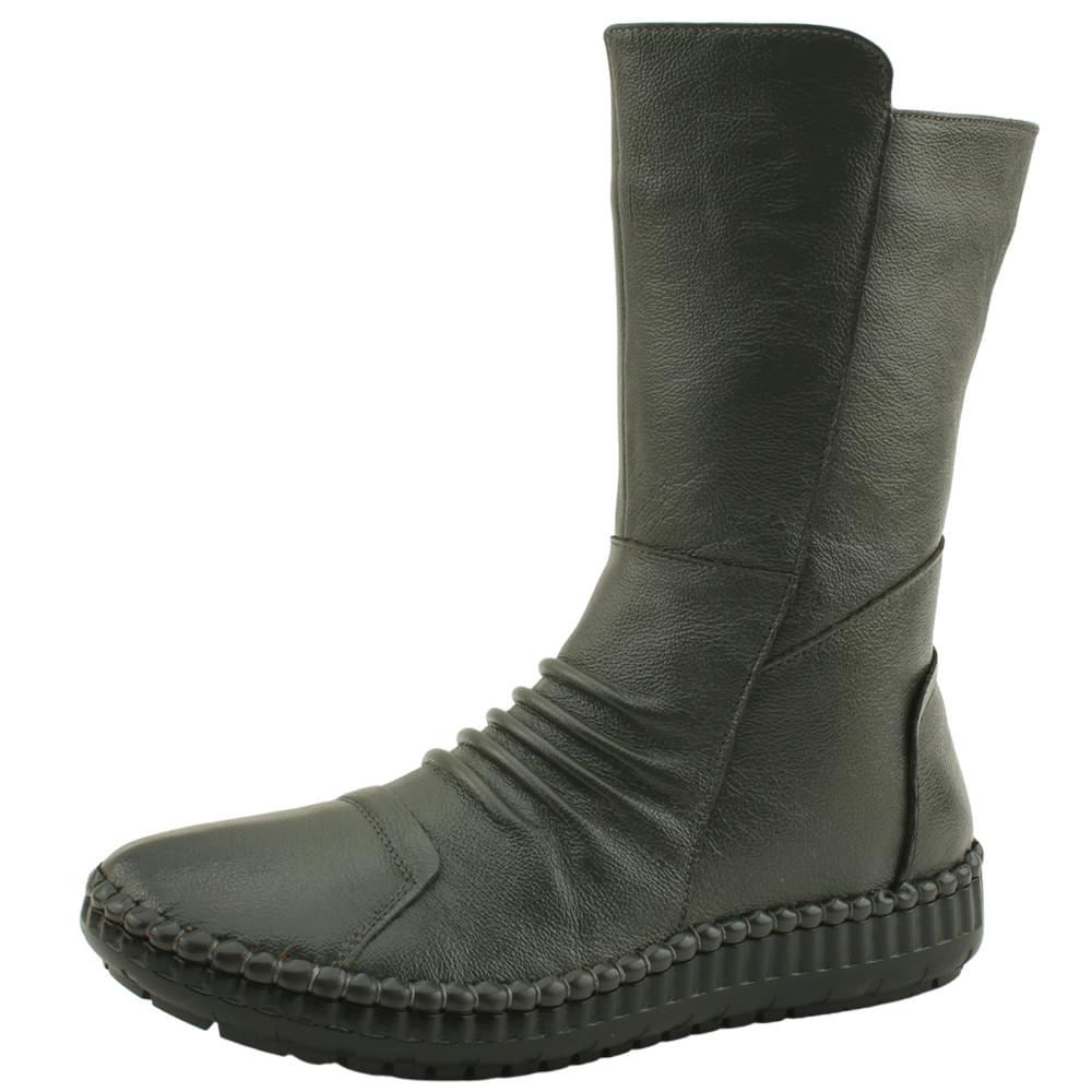 韓國空運 - Cowhide Fur Comfort Middle Boots Gray 靴子