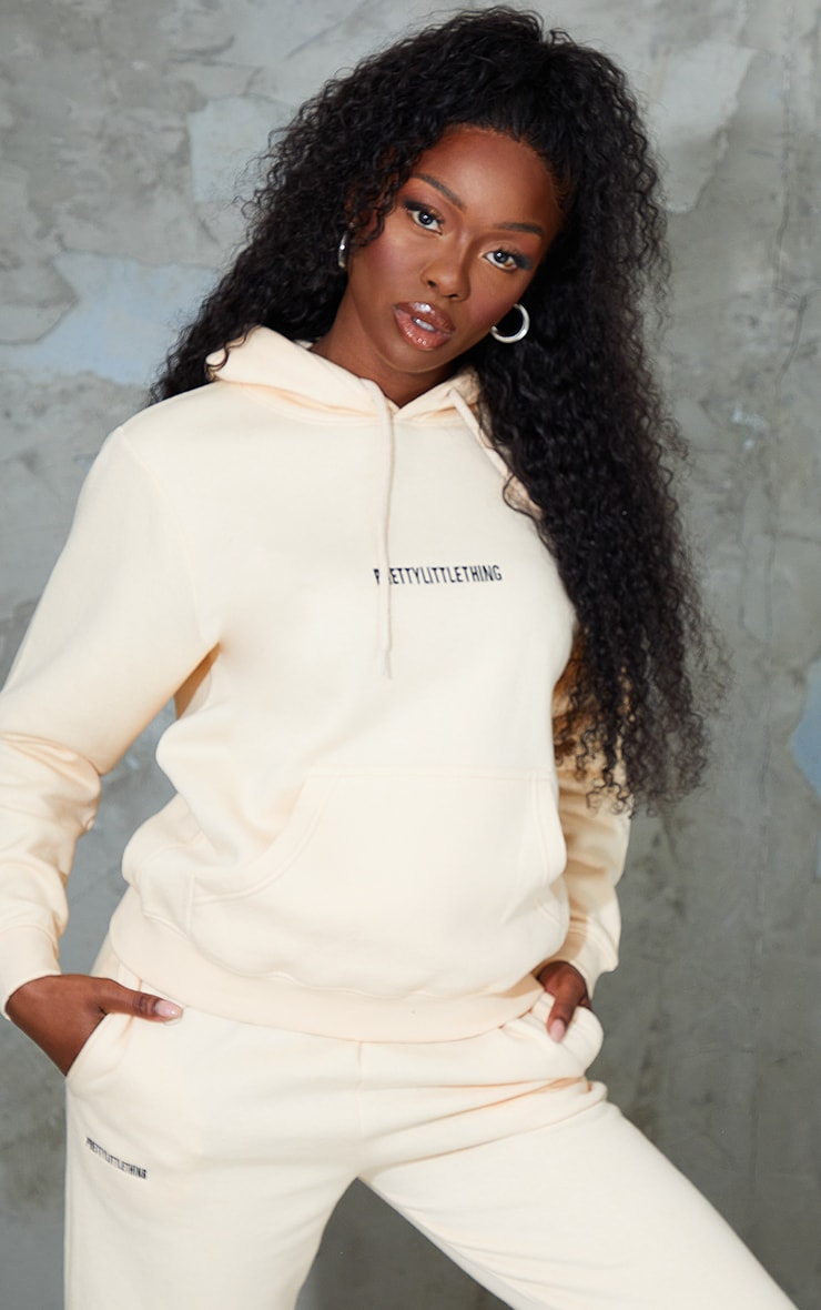 PRETTYLITTLETHING Ecru Embroidered Lounge Hoodie