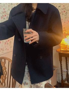 韓國空運 - Oxford double short coat 大衣外套