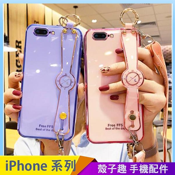 創意鐘錶腕帶軟殼 iPhone SE2 XS Max XR i7 i8 plus 手機殼 網紅同款 影片支架 保護殼保護套 全包邊防摔殼