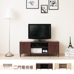 【Hopma】和風原木系二門電視櫃/收納櫃-胡桃木