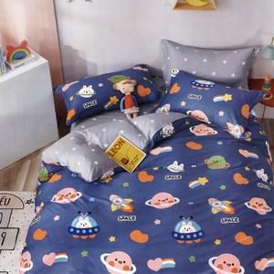 BEDDING-純棉全鋪棉四件式兩用被床包組-未來之夢-藍(加大)