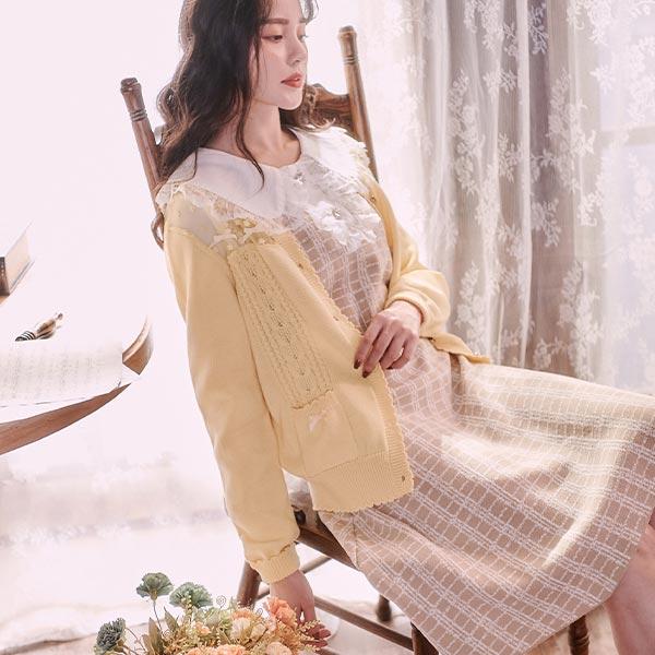 露比午茶-露比設計‧網紗拼接透膚針織外套
