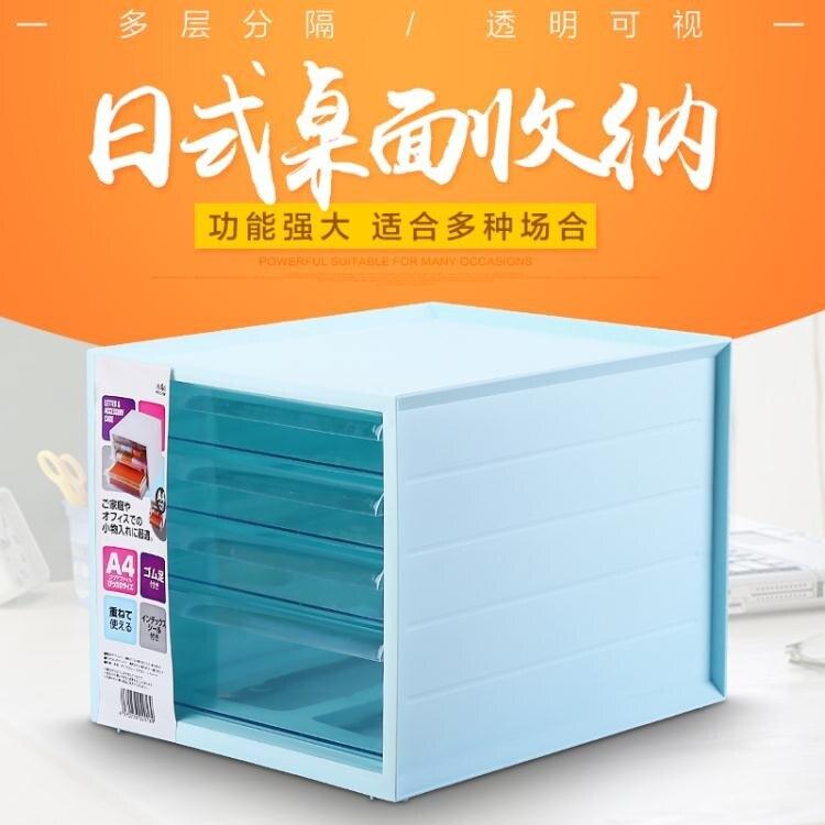 辦公室抽屜式桌面收納盒大號檔文具收納櫃塑膠收納整理箱yh
