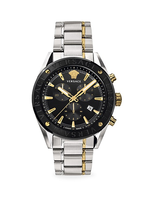 V-Chrono Two-Tone IP Black Yellow Gold Stainless Steel Bracelet Strap Watch