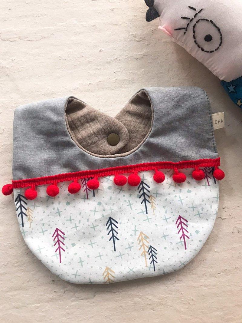 /聖誕味小品/ 結綵的聖誕松     手工純棉六層紗水滴圍兜口水巾