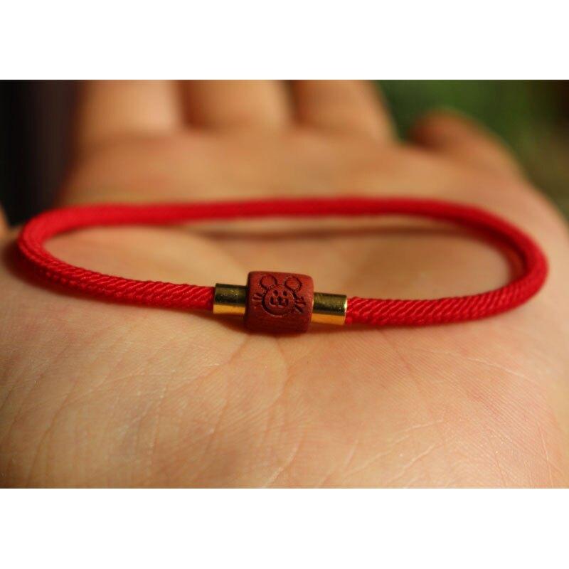 本命年鼠年紅木小葉紫檀十二生肖紅繩子編織手鏈屬相編制情侶手繩1入