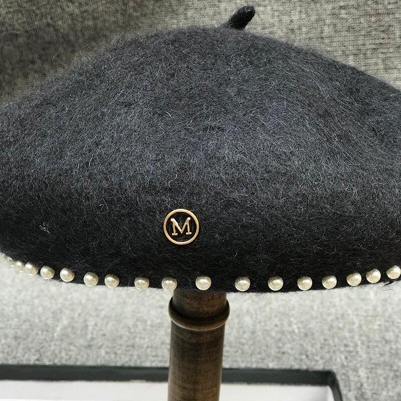 日系簡約甜美毛呢南瓜貝雷帽女秋冬百搭英倫珍珠畫家帽蓓蕾帽子潮1入