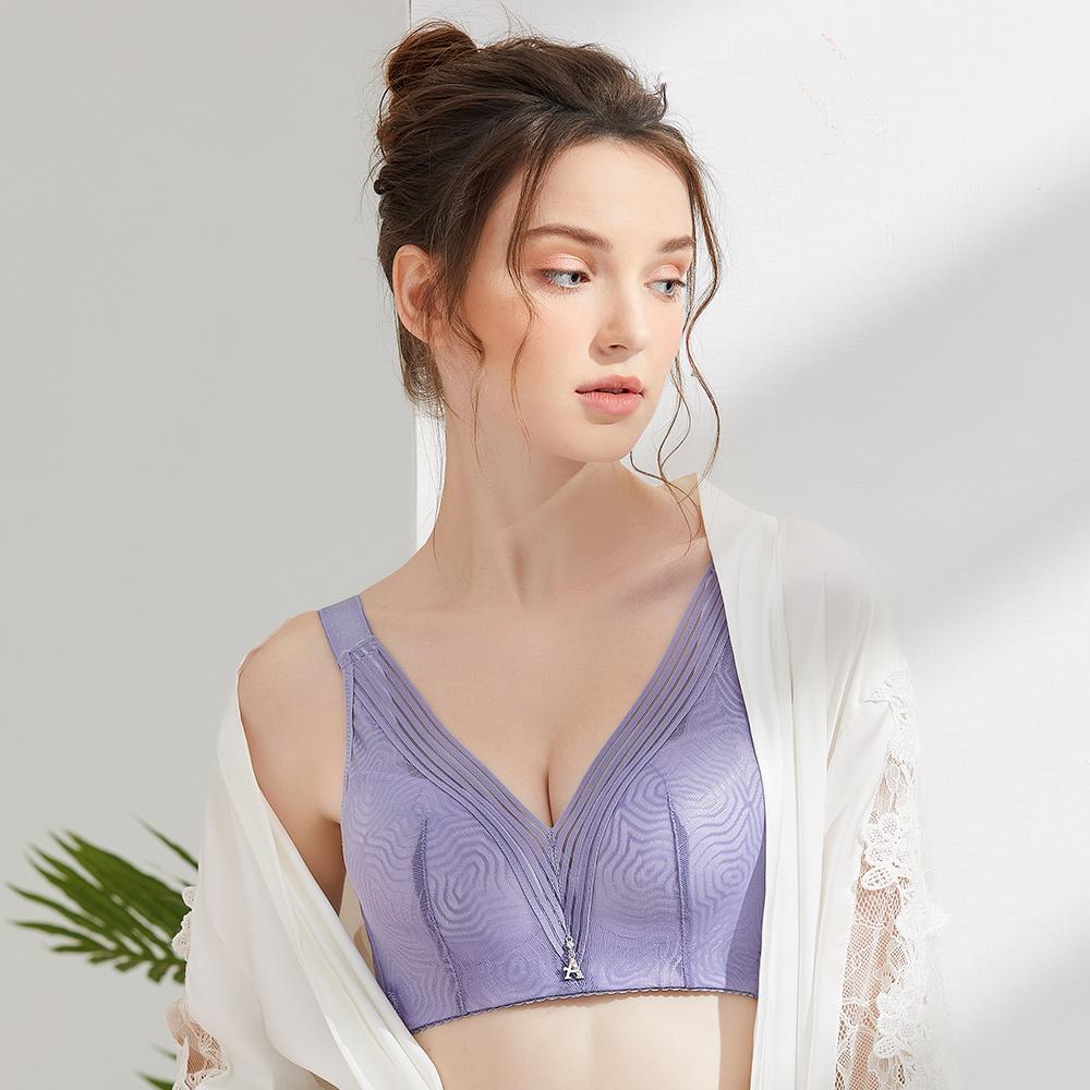 【Olivia】無鋼圈幾何網紗內衣-紫色
