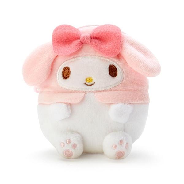 小禮堂 美樂蒂 造型絨毛零錢包 玩偶零錢包 圓形零錢包 耳機包 (粉 全身) 4550337-22752